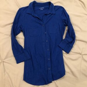 Dark blue slim 3/4 sleeve women's button down